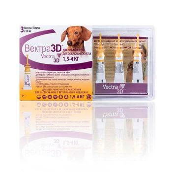 Капли для собак CEVA Вектра 3D 1,5-4 килограмма