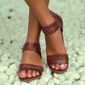 Женские из кожи сандалии молния на низким