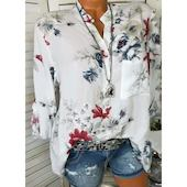 Повседневное Pубашки Длинные рукава Цветочный