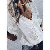 Элегантное Pубашки Средние рукава Цвет сплошного