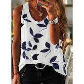 Pубашки Без рукавов Цветочный принт Круглый