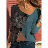 Pубашки Длинные рукава Животный принт Косой