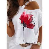 Pубашки Короткие рукава Цветочный принт Круглый