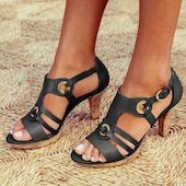 Женские сандалии Пряжка на устойчивым каблуке