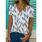 Pубашки Короткие рукава Цветочный принт V-образный