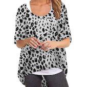 Повседневное Pубашки Средние рукава Леопардовый