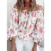 Pубашки Длинные рукава Цветочный принт С