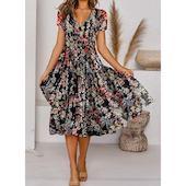 Миди Платья с цветочным принтом с короткыми