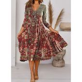 Миди Платья с цветочным принтом с длинными