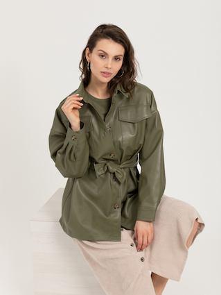 Куртка из экокожи (зеленый, S) SELA, код 4630077588659