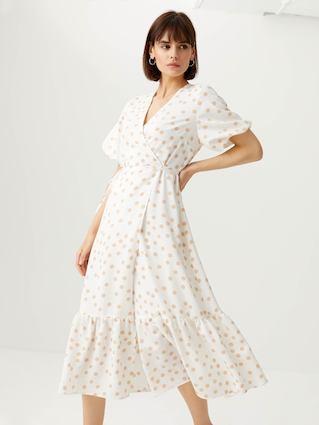 Платье макси на запах (белый, M) sela, код