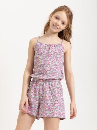 Трикотажный комбинезон для девочек (розовый